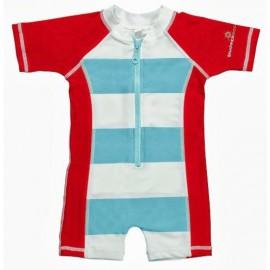 UV baby badpak Aqua / rood stripe (korte mouw)