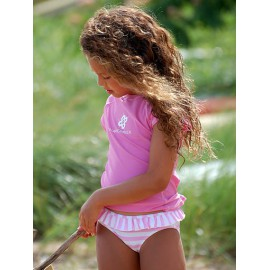 UV shirt en zwemshort Pink & white stripe
