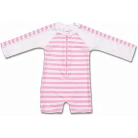 uv badpak pink/white strepen lange mouwen