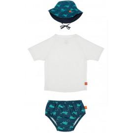 Setje: UV shirt wit + zwemluier + hoedje Walvis