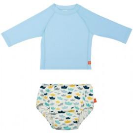 UV zwemset: UV shirt licht blauw met lange mouwen + zwemluier Boats van Lassig
