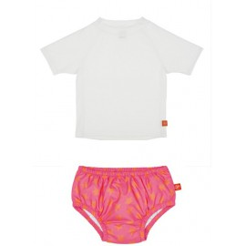 Zwemset: UV Shirt White + Zwembroek Peach Star