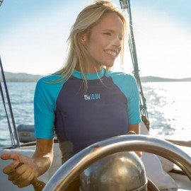 UV Shirt dames Slim Fit Navy Turquoise IQ UV