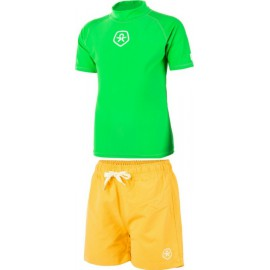 uv zwemset: uv shirt green + zwembroek Geel colorkids