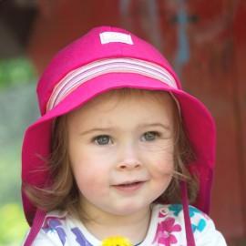 Baby Zonnehoedje Roze met strik | Zonnehoedje baby met nekbescherming