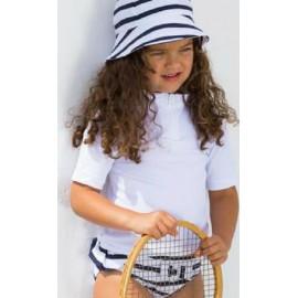 UV shirt Wit met gestreept zwembroek meisje